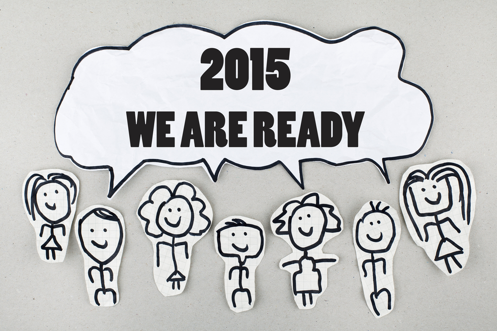 2015 New Year Concept - Sketch people say WE ARE READY